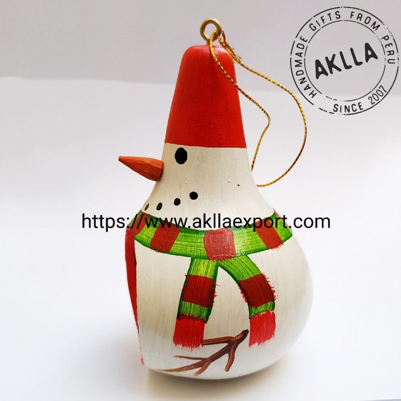 Hand Painted Gourd Snowman With Christmas Birth Approximate Height 11 Cm 4 33 Aklla Export